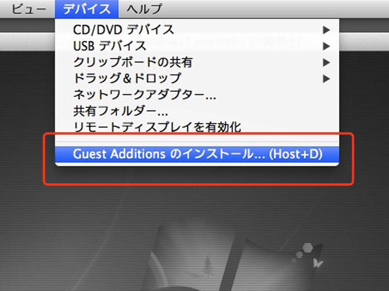 Guest Additionsのインストール