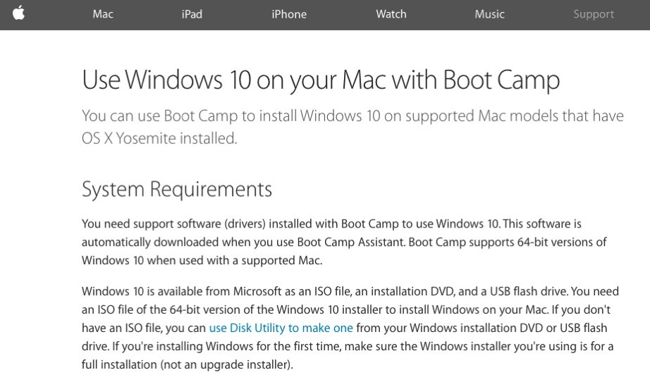 Bootcamp windows10 support